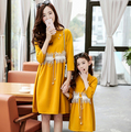 2017 Girls Spring Parent-child outfit mother daughter nail bead lace stitching fashion children good quality dress X116