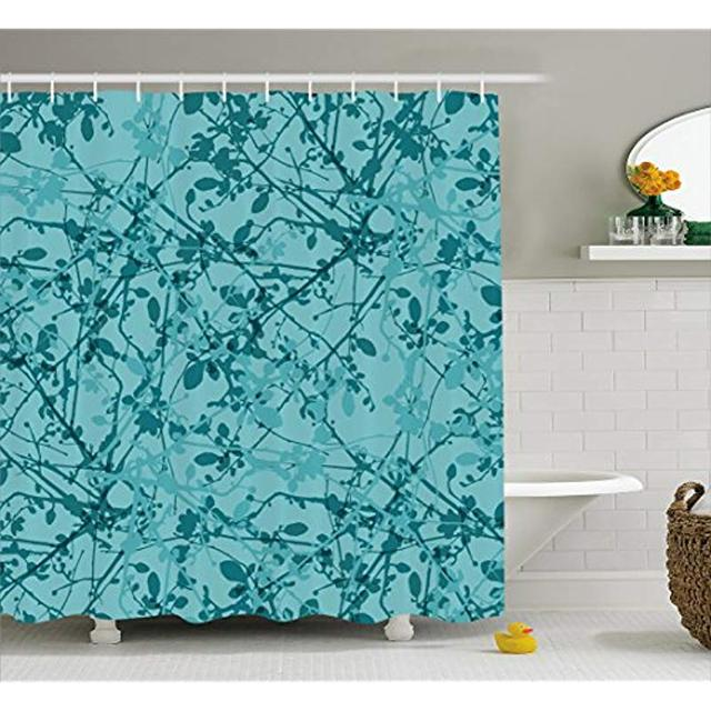 Vixm Teal Shower Curtain Ink Drawing Inspired Intertwined Tree Branches Buds And Leaves In Abstract Design Fabric Bath Curtains