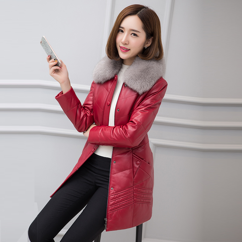 HARLEY DAMSON Red Long Women Genuine Leather Down Jackets Luxury Fox Collar Slim Fit Plus Size 4XL Real Sheepskin Down Coat