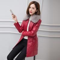 HARLEY DAMSON Red Long Women Genuine Leather Down Jackets Luxury Fox Collar Slim Fit Plus Size 4XL Real Sheepskin Down Coat