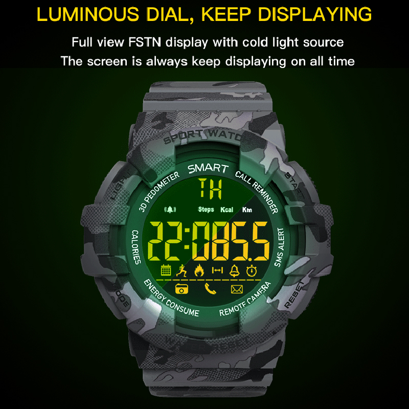 Mens Military Sports Smartwatch Men Camouflage Dial Fitness Intelligent Wristwatches Bluetooth Digital Smart Watches For Running