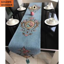 European Style Modern Elegant Table Runners Custom made Chenille Jacquard Runner Home Decor Blue Color with Embroidery