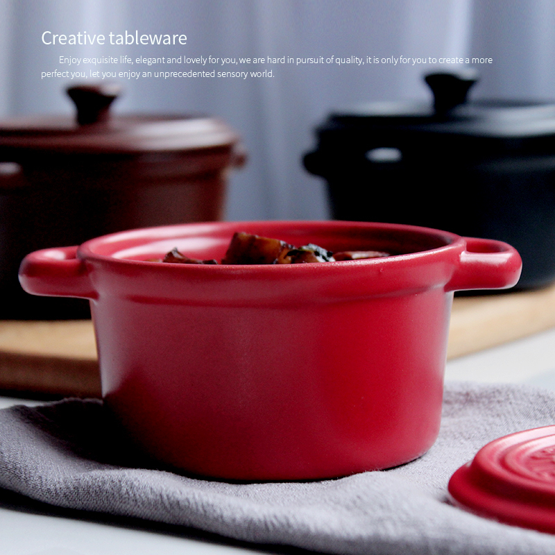 Ceramic Casserole Stew Soup With Lid  3