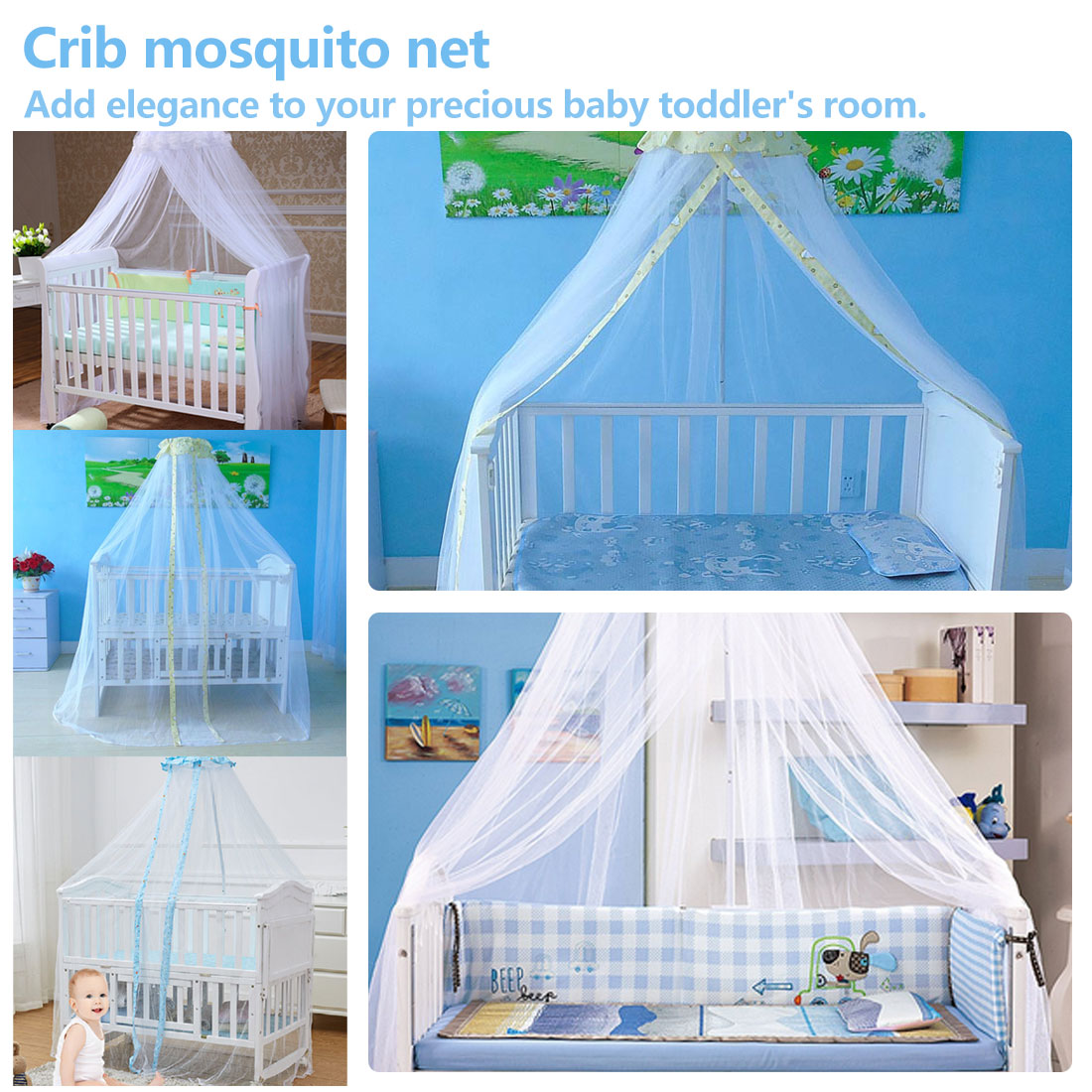 Mosquito Net For Baby Summer Baby Crib Net Crib Netting Mosquito Net Infant Canopy Round Bed Canopy For Cribs Not Include Holder