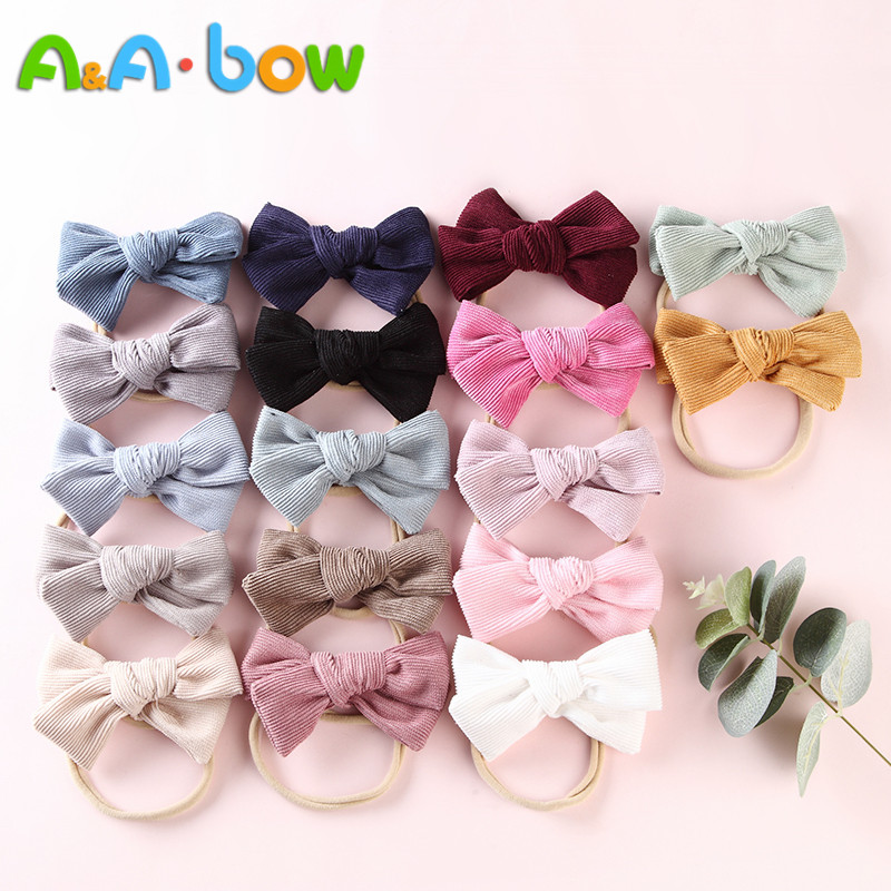17pcs/lot Corduroy Bow Headband For Babys Lovely Bowknot Elastic Nylon Headands Solid Headwear Head Band Babys Hair Accessories