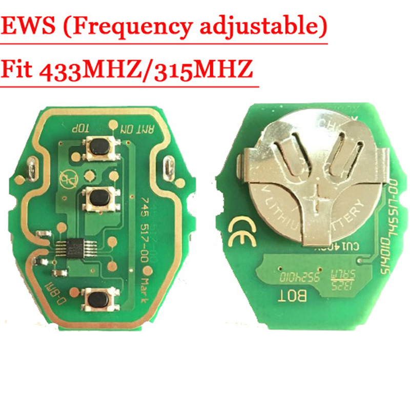 Free shipping EWS Remote Key Circuit Board 315MHz or 433MHz adjustable 2-in-1 For BMW 2pcs/lot  promotion newest ak90 key programmer ak90 pro key maker for b m w all ews version v3 19 plus ak90 with free shipping