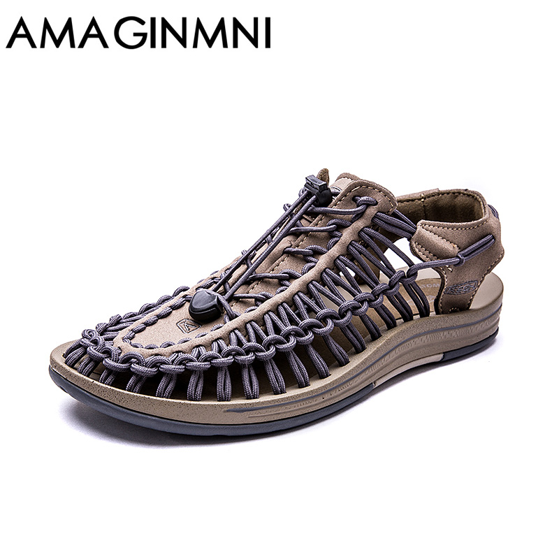 AMAGINMNI New arrived summer sandals men shoes quality comfortable men sandals fashion design casual men sandals shoes casual men s sandals with striped and velcro design