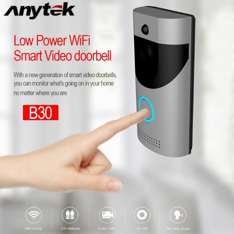 Anytek B30 Sans Fil WiFi Interphone Vidéo Sonnette Caméra + B10 Sonnette Récepteur Ensemble Porte Cloche Caméra Wifi Vidéo Nuit Vision - 2