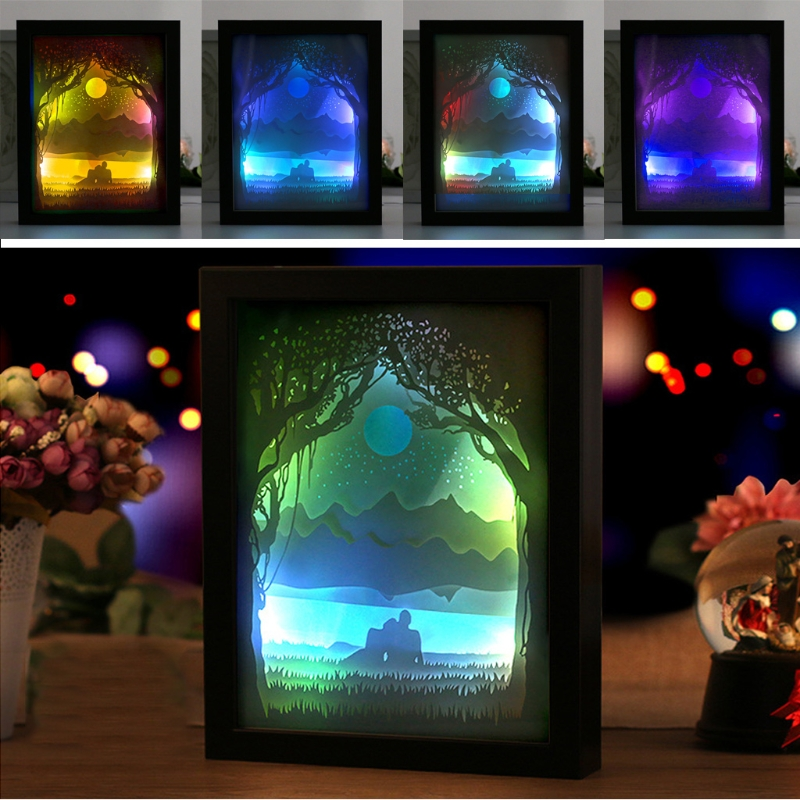 Papercut Light Box LED USB Night Light Lamp Creative Paintings Lovers Sunrise ...