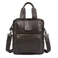 Nesitu Vintage Grey Coffee Real Skin Genuine Leather Men Messenger Bags for ipad Male Briefcase Portfolio Shoulder Bag M7266