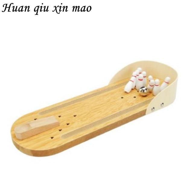 Huan qiu xin mao Mini Wooden Desktop Bowling Game Kids Children Developmental Toy Gift Decor Baby House Entertainment Toys