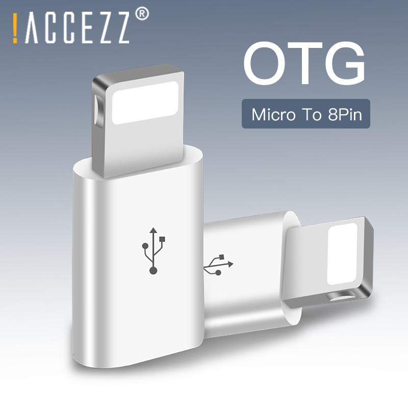 !ACCEZZ Micro USB Cable To Lighting Adapter OTG Converter For <font><b>iphone</b></font> 5 6 7 X <font><b>8</b></font> 5c Plus XS MAX XR Charging Transmission <font><b>Connector</b></font> image