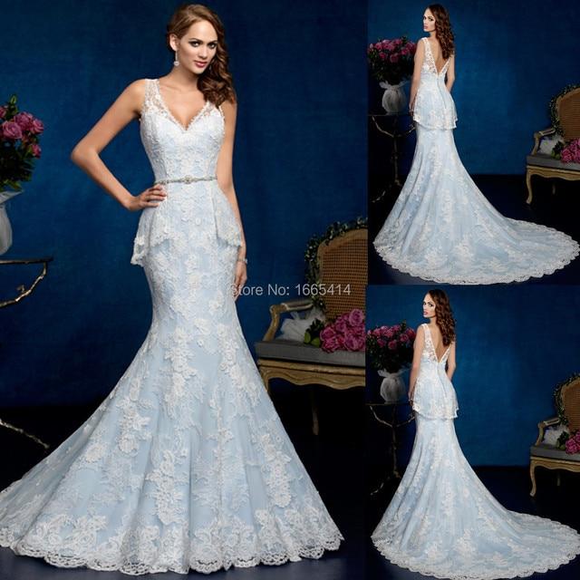 721ec0469d1a Sexy Long Mermaid Wedding Dresses V-neck Sleeveless Sweep Train White Lace  Light Sky Blue Wedding Gowns Vestido De Noiva