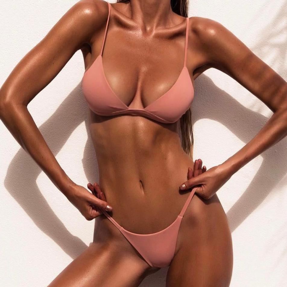 HTB1DeI elsmBKNjSZFFq6AT9VXad Women's swimsuit 2019 Women Push-Up Padded Bra Beach Bikini Set Swimsuit Swimwear pure color swimwear high waisted biquini