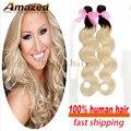 Extensões de cabelo Ombre peruano dois tons de cabelo humano tecer 2 PCS cabelo humano Ombre feixes de cabelo Ombre virgem onda do corpo peruano