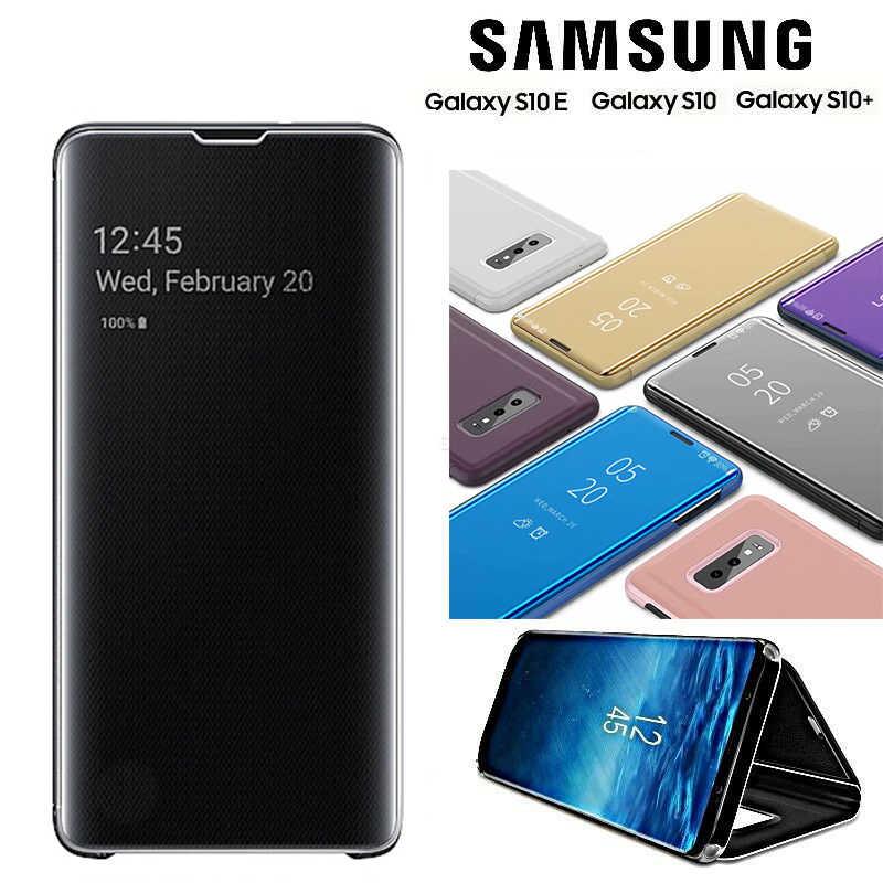 Фото Новое умное зеркало флип раскладный кожаный чехол для samsung Galaxy S10/S10 Плюс/S10 Lite