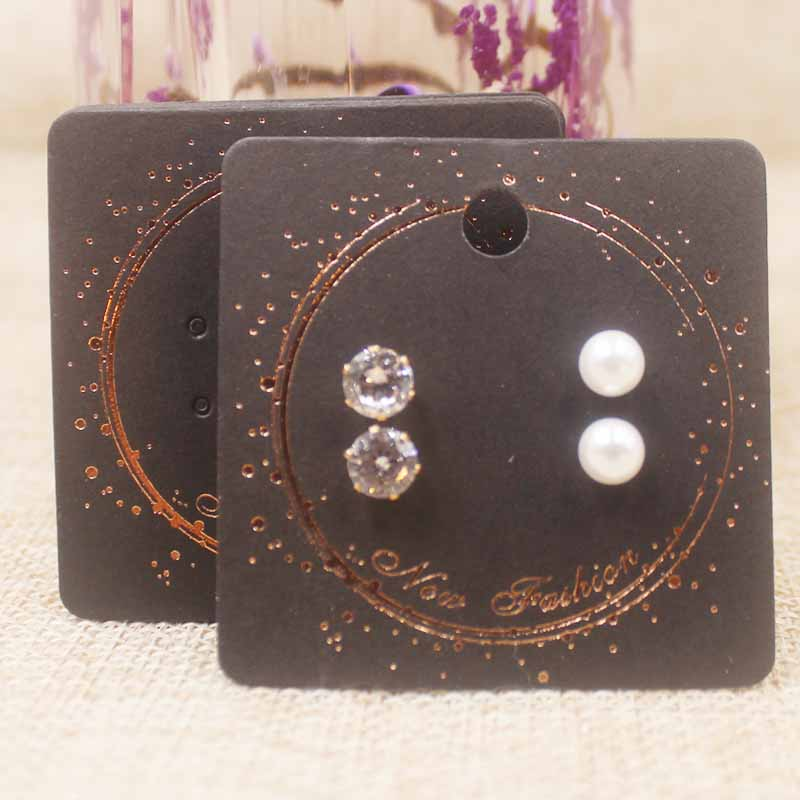 100pcs/lot 5*5cm Black Fashion Jewelry 2pairs Stud Earring Tag Card Paper Jewelry Earring Display Card TagDIy Earring Tag Card