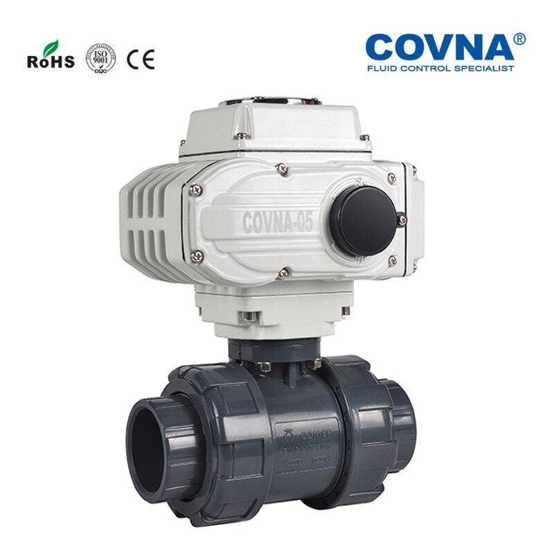 DN50 Motorized PVC 2 Ways Ball Valve On Off Type 220v 4PCS free shipping