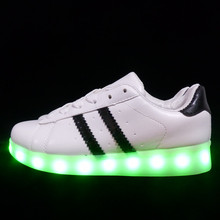 2017 Shining 7 Colors Luminous Sport LED Shoes Men With Lighted for Adults Light Up Shoes led Unisex Glowing USB Charging Shoes