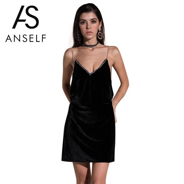 d43f388ce7f Women Spaghetti Strap Slip Dress Deep V Neck Sleeveless Backless Rhinestone Sexy  Mini Velvet Dress Elegant Party Dresses female