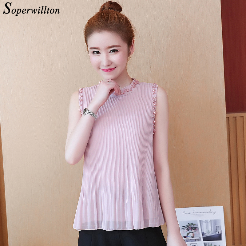 Sleeveless Summer Chiffon Blouses Women S-2XL drape Beading Cool Blouse Womes Shirts Tops 2018 blusas femininas Black Pink #CS3