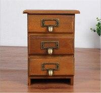 Free Shipping!Wooden Storage Drawer Three layer wooden Storage Box Small Jewelry storage Case Office Desk Organizer Box