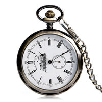 Retro Open Face Minute Hand Locomotive Dial Hand Wind Mechanical Pocket Watches Steampunk Watch For Men