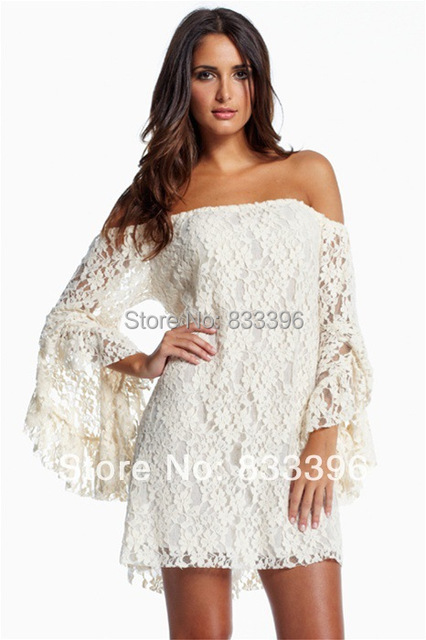 Dress 2017 Casual Women White Cream Lace Off The Shoulder Mini Ruffled Sleeves