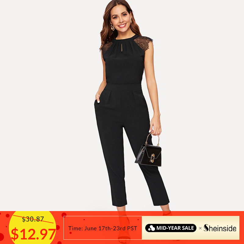 Sheinside Elegant Eyelash Lace Sleeve Black   Jumpsuits   Women 2019 Summer Solid Casual Mid Waist   Jumpsuits   Tapered Maxi   Jumpsuits