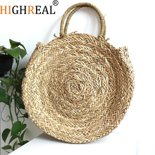 HIGHREAL Handmade Rattan Woven Round Handbag Vintage Retro Straw Knitted Bag Lady Fresh Handbag Summer Beach Tote