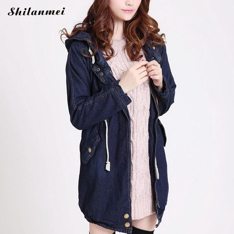 2017 New fashion hooded winter jacket women denim parka female coats thicken slim waist autumn winter parkas lady denim overcoat