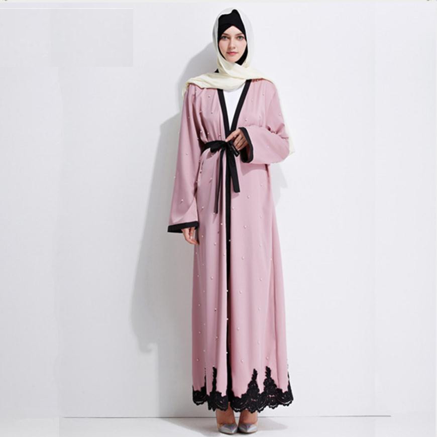Adult Muslim Arab Beading cardigan abaya fashion dubai islamic large size dress wj754 prayer service clothing free shipping