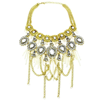 2014 New Women Short Design Big Brand Super Luxury ZA Pearl Rhinestones Tassel Choker Crystal Pendants