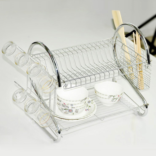 TFBC 2 TIER CHROME PLATED DISH CUTLERY CUP DRIP TRAY PLATES HOLDER & TFBC 2 TIER CHROME PLATED DISH CUTLERY CUP DRIP TRAY PLATES HOLDER ...