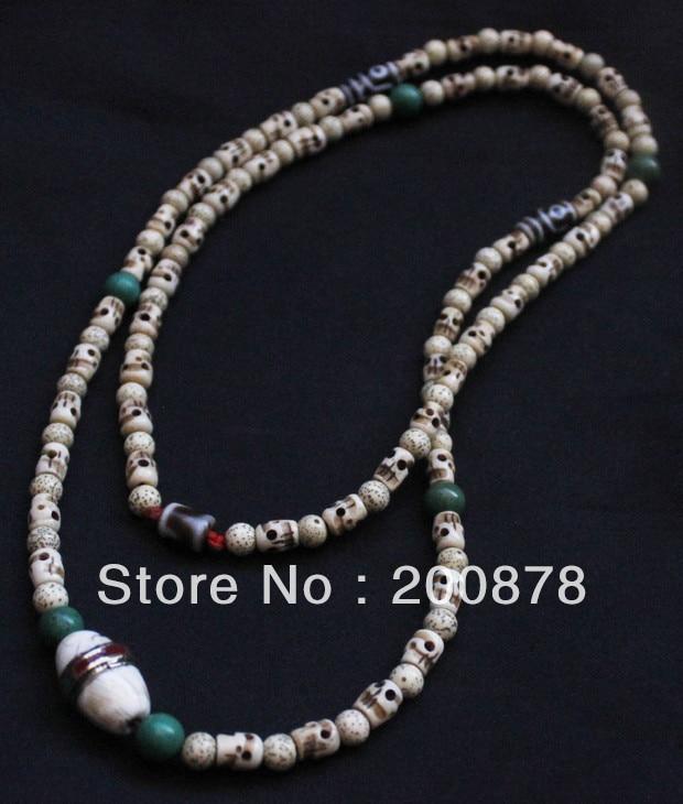 TNL526 Orignal design-Tibetan Ox Bone Skull Beads and White Bodhi Lotus Beaded superlong Lady Necklace cool skull style ox bone bracelets 2 pack