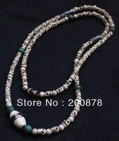 TNL526 Orignal design Tibetan Ox Bone Skull Beads with Lotus Bodhi Beaded Superlong Necklace for Lady