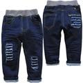 3820 детские джинсы брюки мальчик или девушки темно-biue весна осень патч детские джинсовые брюки дети мода новый очень хороший не выцветают