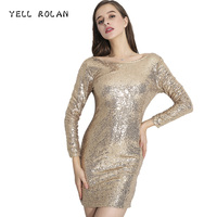Long Sleeve Dress Christmas New Year Party Dress Outfits 2017 New Glitter Gold Sequins Bodycon Autumn