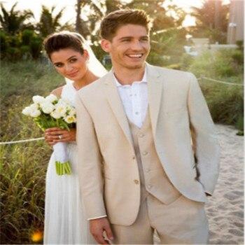 New Style Groom Tuxedos Champagne Groomsmen Notch Lapel Best Man Suit/Bridegroom/Wedding/Prom/Dinner Suits (Jacket+Pants+Tie+Ves