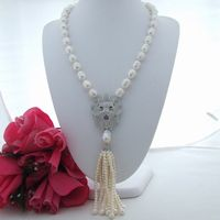 FC071403 23 White Rice Freshwater Pearl Necklace Lion CZ Pave Pendant