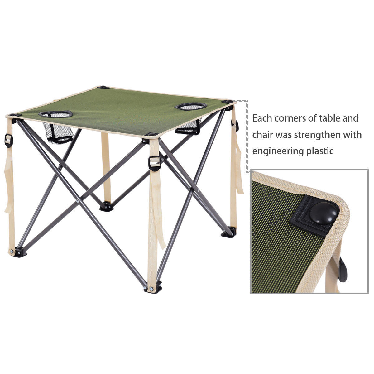 Giantex Portable Outdoor Folding Table Chairs Set Camping Beach Picnic Table  With Carrying Bag Outdoor Furniture Set OP3381GN In Garden Sets From  Furniture ...