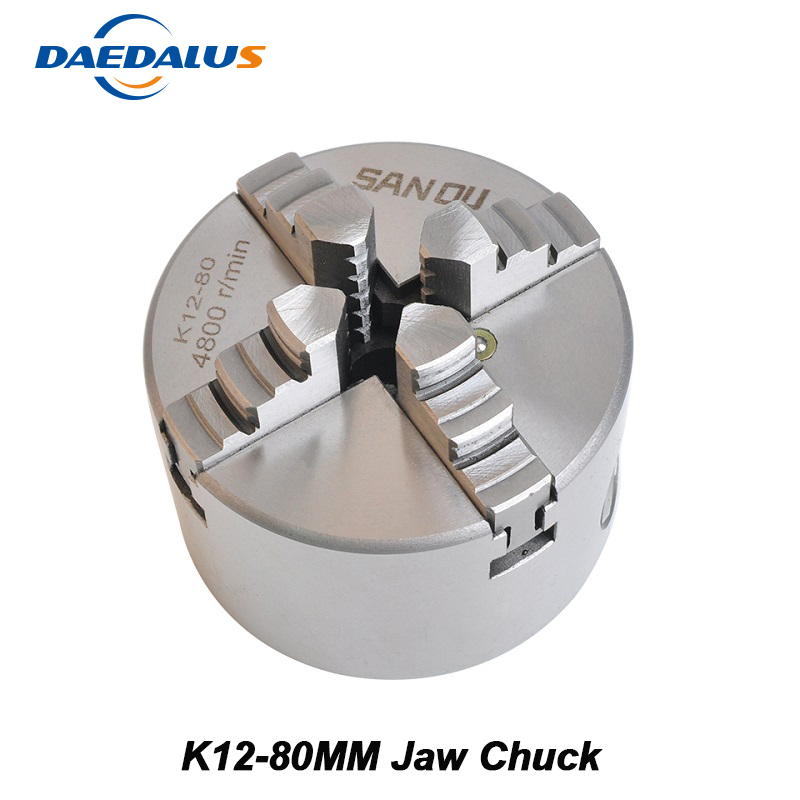 K12-80 Lathe Chuck 80mm Drill Chuck 4 Jaw Self Centering Hardened Reversible Tool Lathe Tools For Drilling Milling Machine 80mm 4jaw independent lathe chuck k12 80 3 self centering chuck for cnc lathe drilling milling machine