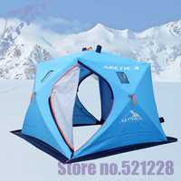 3 layer 5-6 person ice  warm winter automatic quick open cotton Oxford Huge space fishing beach outdoor camping ice fishing tent