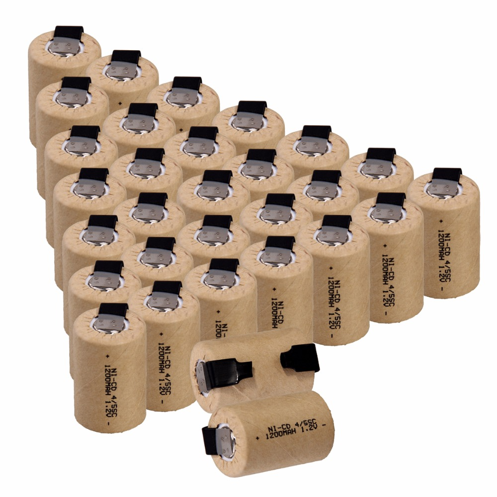 30 pcs 4/5SC1200mah 1.2v battery NICD rechargeable batteries for emergency light toy equipment power for electric screwdriver