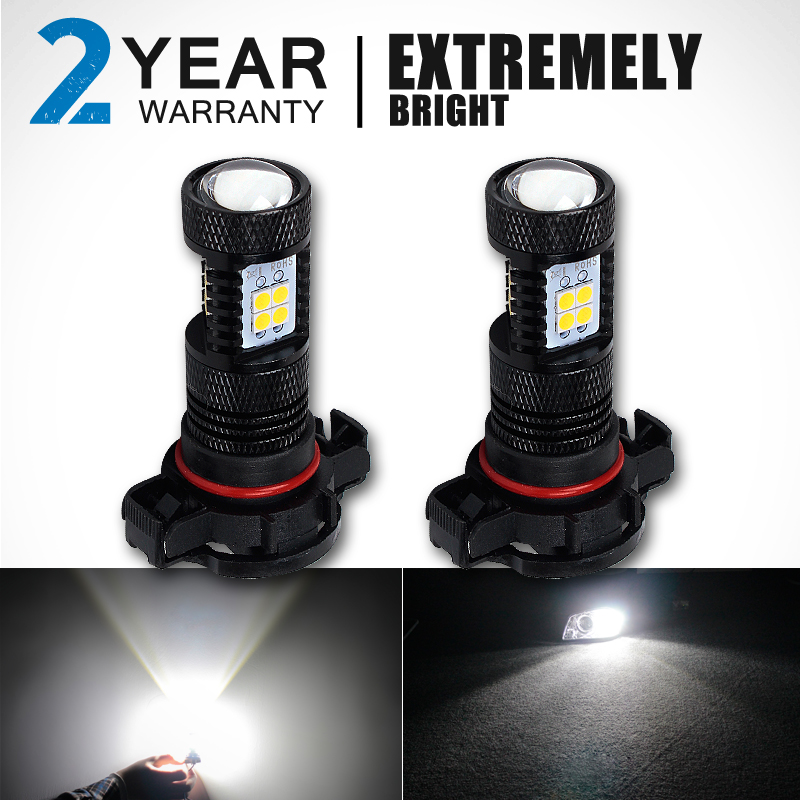 CN360 2PCS High Power White H16 5202 LED Car Fog Light Lamp LED Headlight Driving Lights Bulb For DC 12V Car Vehicles