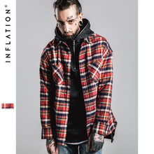 INFLATION Fear Of god long Sleeve Brushed Tartan casual shirt tyga hiphop streetwear men's plaid check flannel shirt