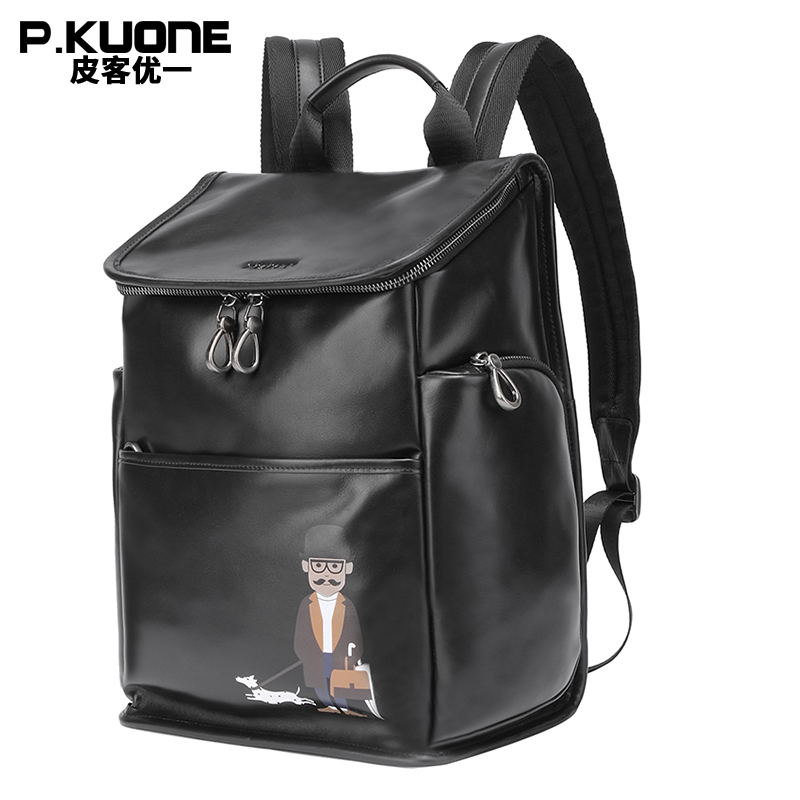 P.KUONE 2018Genuine Leather Laptop Shoulder Bag New Design Uncle Walk Dog Backpack Best Men Travel Waterproof Travel School Bag