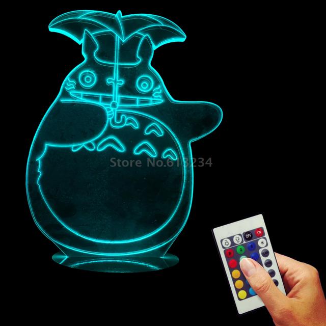 My Neighbor Totoro 3D Optical Illusion LED USB Charging Night Light Baby Sleeping Lamp
