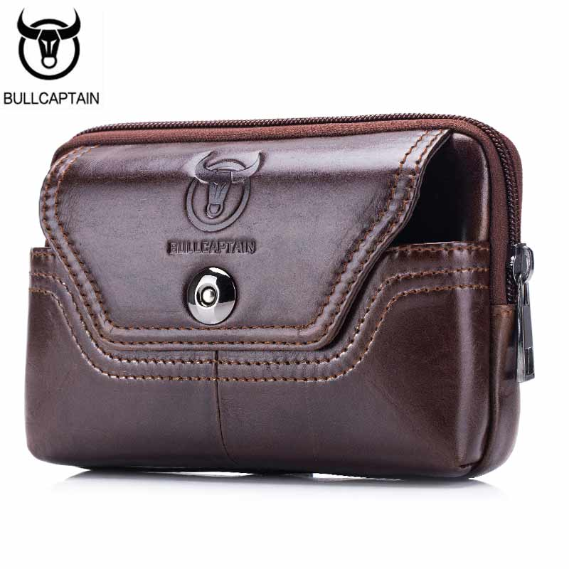 BULLCAPTAIN Phone Cigarette Purse Fanny Pack Waist Bag Leather Hip Bum Money Belt Bag Waist Packs Men Belt Pouch Bags horizontal men male casual functional canvas bag waist bag money phone belt bag pouch bum hip bag shoulder belt pack 2018