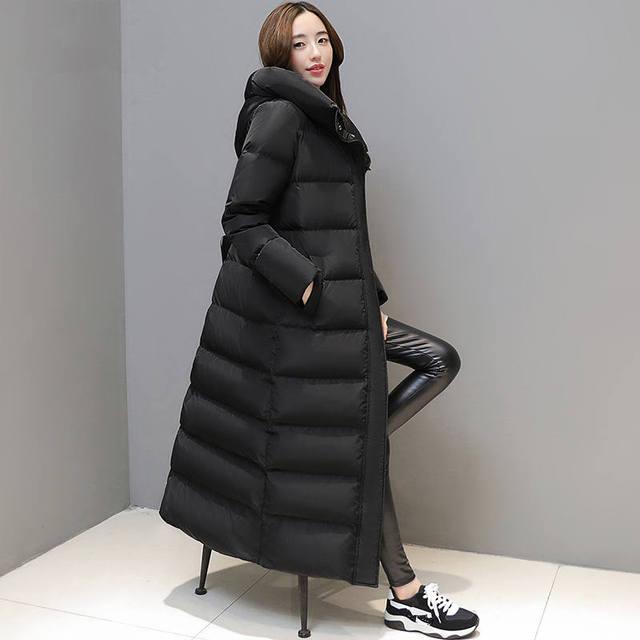 Fashion Super Long Women's Down Jacket Manteau Femme Hiver Hoodies White Duck Down Winter Coat Women Parka Female Jacket C5112